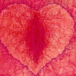 Crinkle red-pink heart with deep yoni in the middle of it