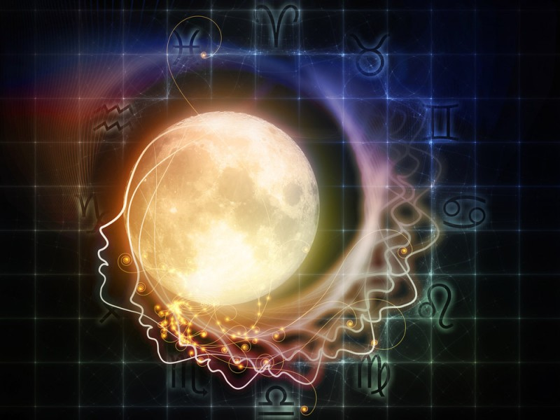 Outline of a woman's head superimposed on space and with the moon superimposed upon the head, spiralling outward with light
