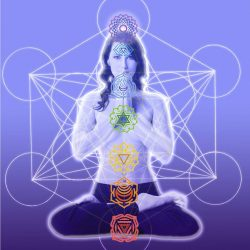 Female anatomy illustrated by a woman sitting in lotus position with energy lines showing