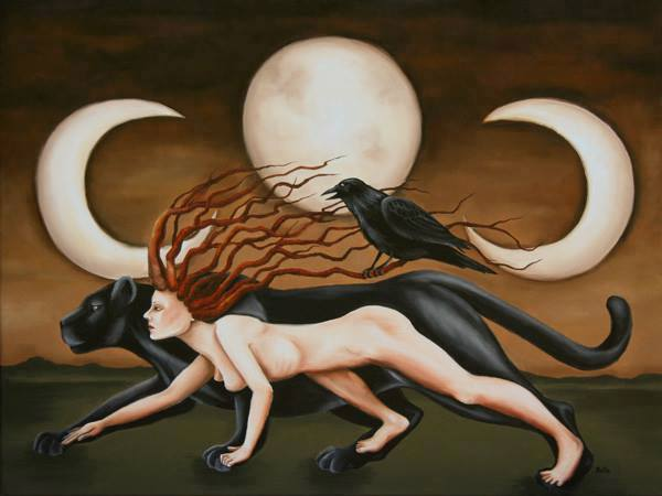 Feminine Shadow illustrated by a shapeshifting woman-jaguar accompanied by a raven